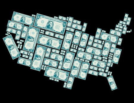 george washington: The United States made out of one dollar bills