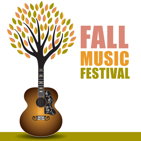 Fall music festival art with a guitar tree background Illustration