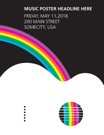 An acoustic guitar and rainbow poster
