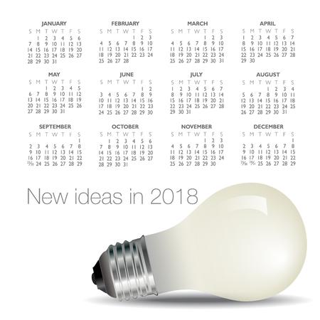 2018 idea and light bulb calendar.
