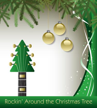 Rockin' around the Christmas tree guitar background Illustration
