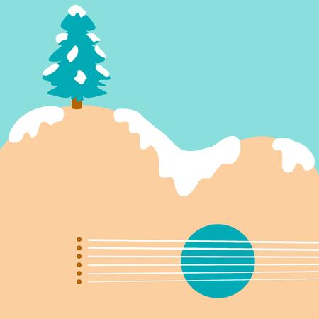 Christmas tree and guitar landscape background Illustration