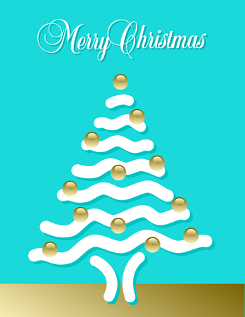Christmas card with Christmas tree in abstract design