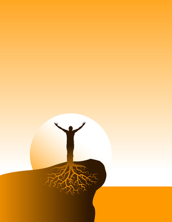 Inspirational well grounded person has arms uplifted Vetores