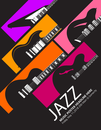 Jazz festival music background template Çizim