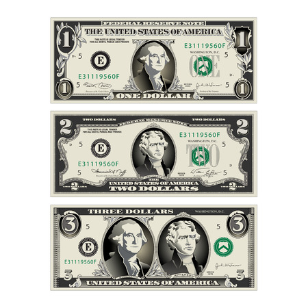 In this graphic, the 1 and 2 dollar bills are merged