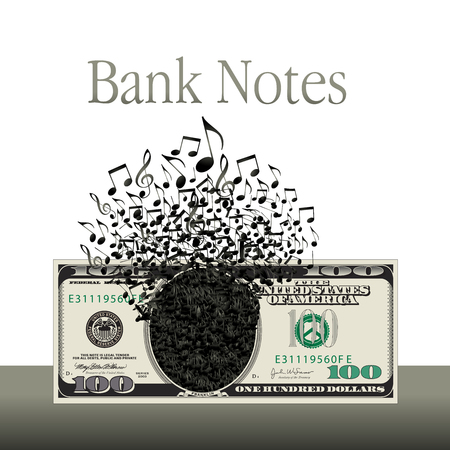 Music and money is the theme of this graphic.