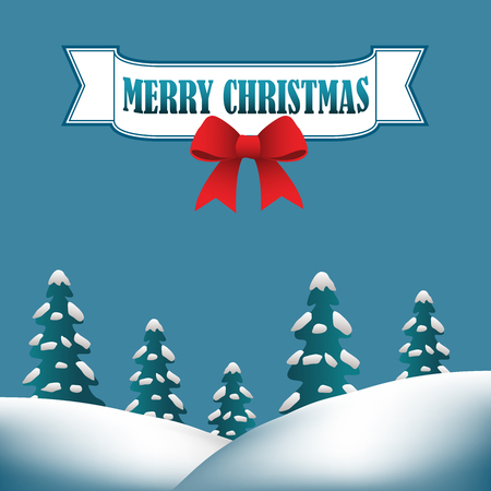 Merry Christmas background with hills