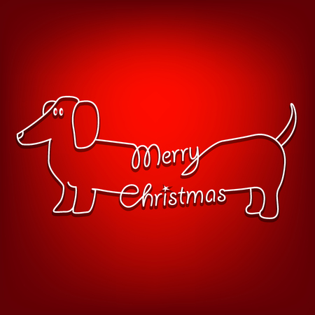 Merry Christmas and dog are united