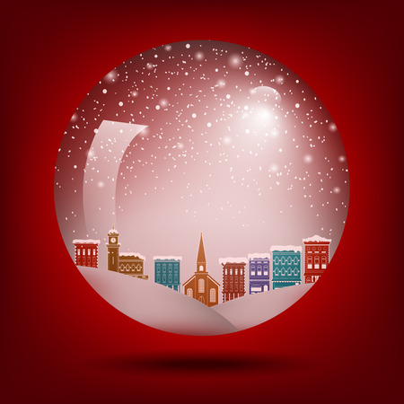 Red Christmas snow globe with a town