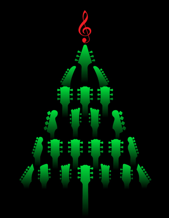 A Christmas tree made of guitar headstocks Banque d'images - 121392426