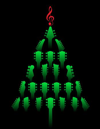 A Christmas tree made of guitar headstocks Vektorové ilustrace