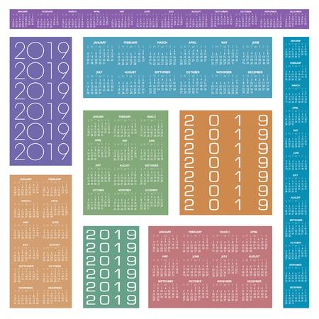 2019 Creative Calendar in multiple colors Ilustração