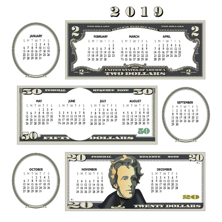 Calendario di denaro 2019, ideale per qualsiasi attività commerciale.