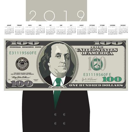 2019 one hundred dollar bill Calendar