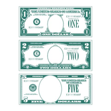 Drei vereinfachte stilisierte Geldscheine ohne Gesichter Vektorgrafik