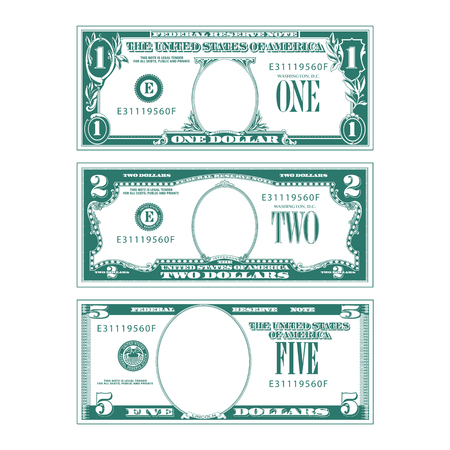 Three simplified stylized bills with no faces