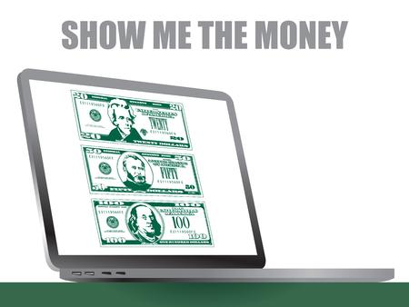 Show me the money laptop  イラスト・ベクター素材