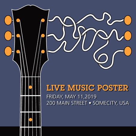Guitar live music template with funky squiggles Stock Illustratie