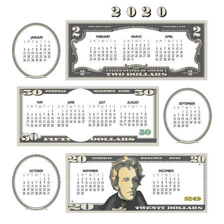 2020 money calendar, ideal for any business.