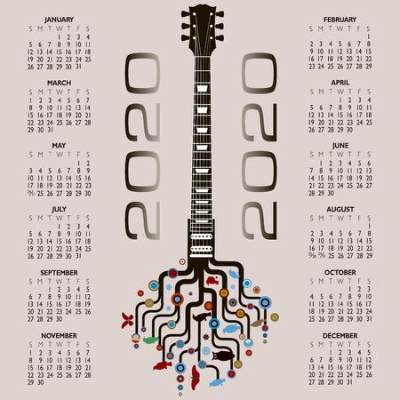 2020 Calendar with a whimsical guitar background