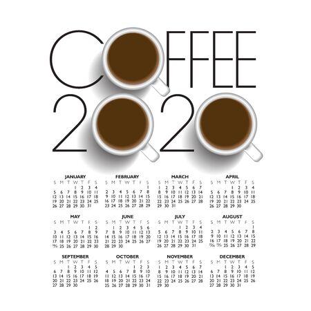 2020 creative coffee shop calendar with three cups