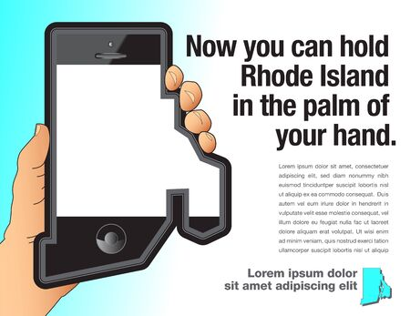 A hand holds a smart phone that is shaped like Rhode Island.
