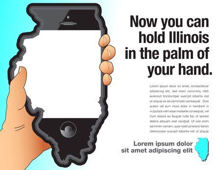 A hand holds a smart phone that is shaped like Illinois. Çizim