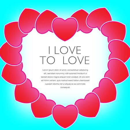Hearts form a heart that frames your message.