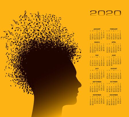 A man with hair made from musical notes music background.