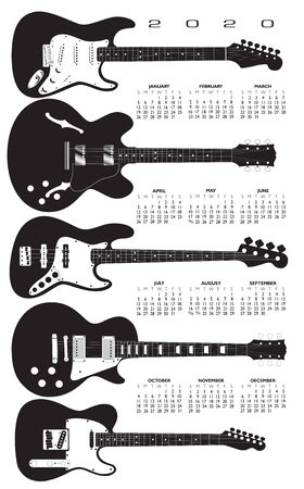 A 2020 calendar in a field of electric guitars.