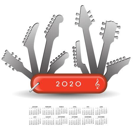 2020 Calendar with a guitar army knife