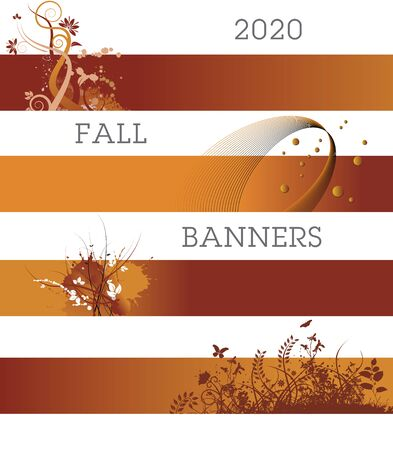 A variety of creative banners in fall colors. Vettoriali