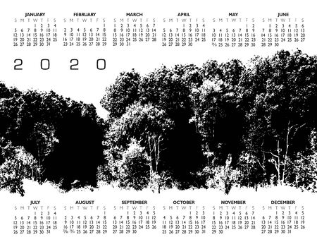 A unique black and white forest woodland outdoor 2020 calendar. Ilustração
