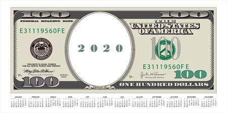 Un billet de 100 dollars qui est aussi un calendrier 2020 Vecteurs