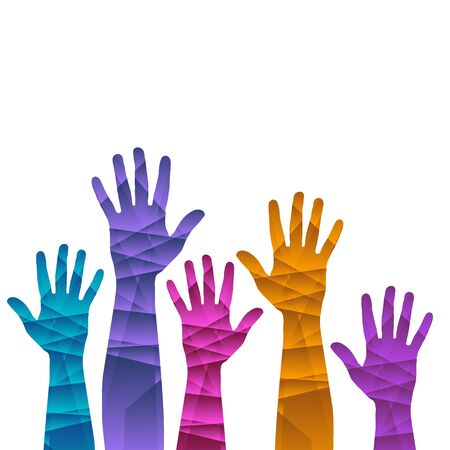 A hands up background ilustration template in rainbow colors