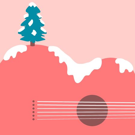 Christmas tree and acoustic guitar landscape background