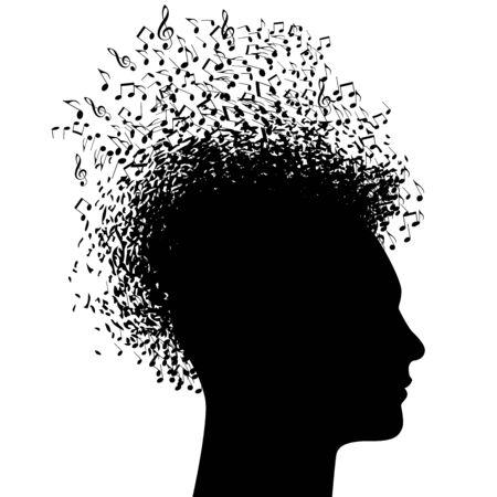 Musikmann in schwarz-weißem Profil mit Musiknoten. Vektorgrafik