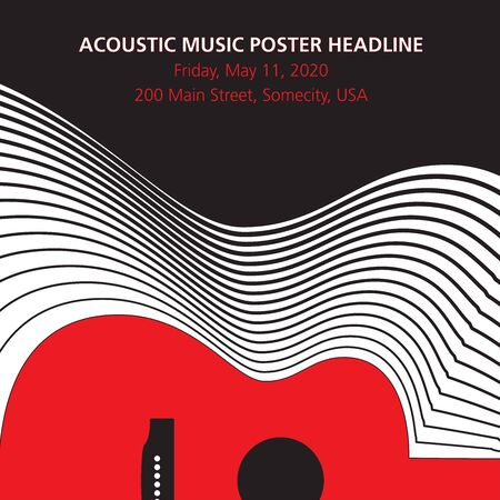 Acoustic guitar music poster background template. Vettoriali