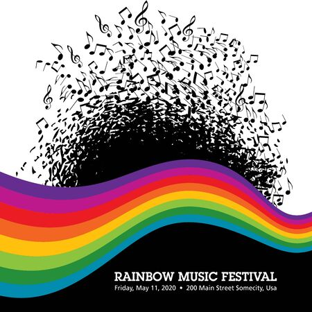 Rainbow themed music poster background template.