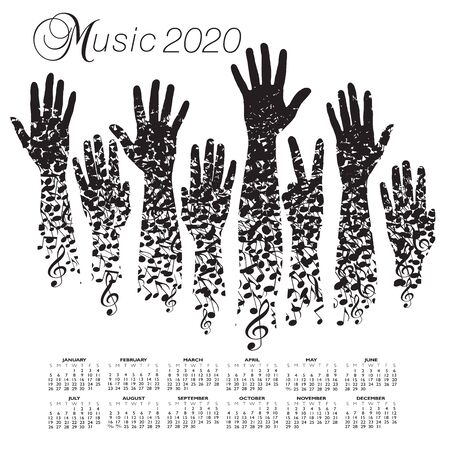 A creative 2020 musical calendar made with hands and notes