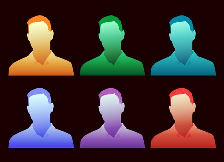 A colorful array of choices for a generic avatar on a black background