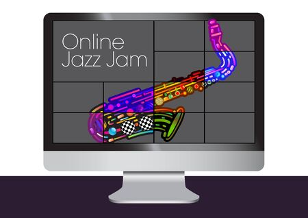 An online video jazz jam with an abstract colorful saxaphone. Vettoriali