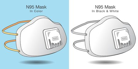 Two N95 medical mask illustrations in both color and grayscale. Vettoriali