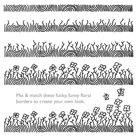 Funky_Floral_Hand drawn borders.  Mix and match to build your own borders or content dividers. Vettoriali