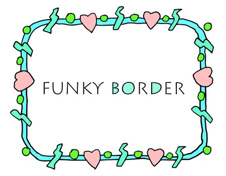 A funky, grungy hand drawn border with hearts.