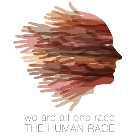 We are all one race.  The Human race.  A face made with hands.  Isolated on white with of room for your message.