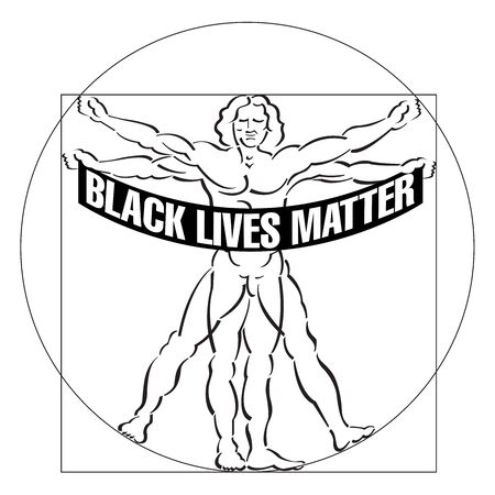 Even vitruvian man is disturbed with the systematic killing of black men in America. Vettoriali