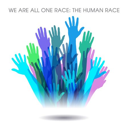This powerful message of unity says  We are all one race. The Human race. Vettoriali
