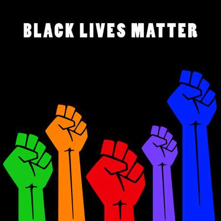 Black lives matters. Social poster, banner. Stop racism police violence. I can't breathe. Flat illustration